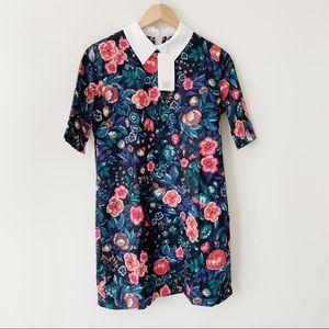 Zara Organic Cotton Floral Collared Shift Dress